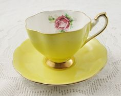 Queen Anne Tea Cup and Saucer, Yellow Tea Cup with Pink Rose, Vintage Bone China, Teacup and Saucer