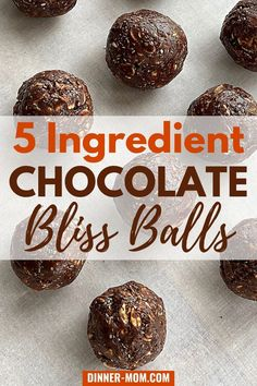 5 Ingredient, No-Bake Chocolate Bliss Balls are perfect for a healthy snack! Spice them up with hot honey for a special treat! #healthysnacks #blissballs