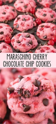 Candied cherry - Chewy Candy - Ideas of Chewy Candy - Thick & chewy maraschino cherry chocolate chip cookie recipe! Cake Mix Cookies, Yummy Cookies, Cookies Et Biscuits, Cream Cookies, Sandwich Cookies, Shortbread Cookies, Pink Cookies, Sugar Cookies, Brownie Cookies