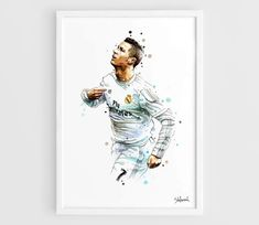 Cristiano Ronaldo Real Madrid CR7 - A3 Wall Art Print Poster of the Original Watercolor Painting Football Poster Soccer Poster by NazarArt