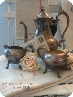 (via Dream in Cream / Vintage Silver On Copper Sheridan Tea Set by AlabasterRoseHome)