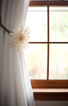 Burlap Curtain Tiebacks, Jute Macrame Curtain HoldBacks, Rustic Home Decor, Window Treatments