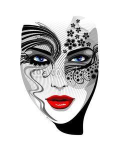 #Tattoo #Girl's #Portrait-#Vector © #Bluedarkat - on #Fotolia!
