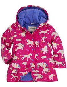 0b06e381 *BNWT* Hatley Girls Unicorns and Rainbows Pink Raincoat Rain Coat Hearts  Pretty. Kiddies Kloset · Brighten up a Rainy Day!