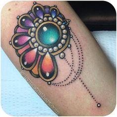 Color jewel tattoo