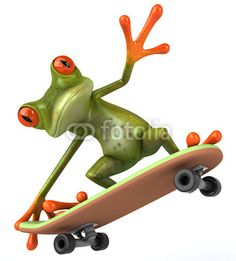 Frog on skateboard Funny Frogs, Cute Frogs, Geico Lizard, Frosch Illustration, Animals And Pets, Cute Animals, Frog Crafts, Frog Art, Green Frog