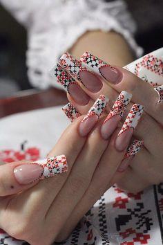 #Nailart #Beauty #Vyshyvanka Ethno Style, Mani Pedi, Ethnic Fashion, Health And Beauty, Nail Designs, Nail Art, Wedding Rings, Engagement Rings, Embroidery