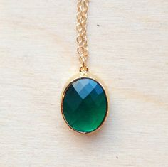 Emerald Coloured Pendant  Gold Necklace with by FredericaDixon, £12.99