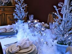 Silver Frosty Christmas Tablescape With Reindeers and Snowflakes