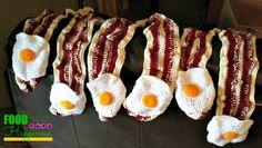 Bacon and Eggs Crochet Scarf. Handmade, homemade, diy, yarn art #FoodandHappiness