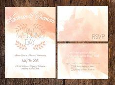 Watercolor Bohemian Rustic Wedding Invitation by ASplashOfHearts