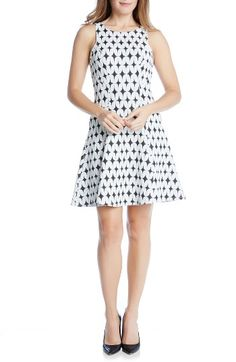 Free shipping and returns on Karen Kane Jacquard Fit & Flare Dress at Nordstrom.com. A mod, monochrome mix of geometric motifs pattern a sharp stretch-jacquard dress with a retro-chic fit-and-flare silhouette.