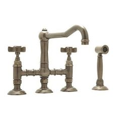 Country Kitchen Two Handle Widespread Kitchen Faucet with Metal Levers