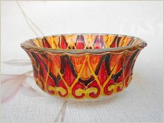 RichanaDragon ||| Glass bowl. Сan be used as dinnerware, as a bowl candle holder or jewelry storage (holder). Hand painted stained glass. Red, orange, yellow, brown.