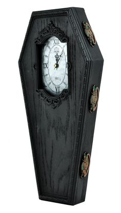 Black Victorian Gothic Coffin Wall Clock Halloween Home Decor