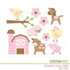 Country Farm Pink Clip Art by cocoamint on Etsy, $5.00