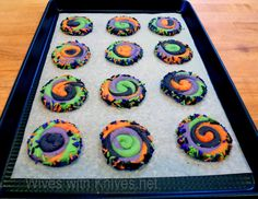 "Halloween Spiral Cookies ~ via this blog, ""Wives with Knives""."