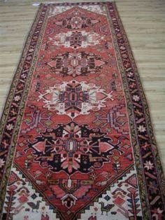 37-x10-Rare-Fine-Authentic-Antique-Persian-Heriz-Serapi-Iran-rug-runner