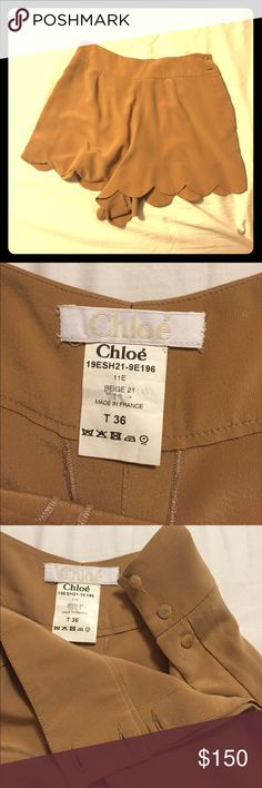 Chloe beige silk shorts Super cute! Scalloped edge Chloe beige silk shorts 🙈 Cute to dress up or down. Made in France, dry clean only, french size 36. I would say between 0 or 2 us size. 😊 Chloe Shorts Skorts