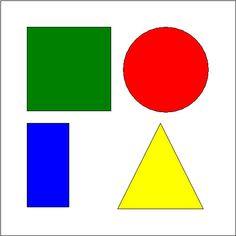 BASISVORM: Tweedimensionaal: vierkant. cirkel, driehoek, rechthoek.