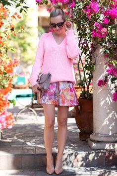 Bubblegum pink boyfriend sweater, floral print maxi, nude pumps
