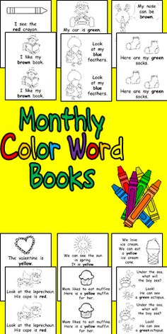 This set includes 12 books, one for each month of the school year!! Each book features predictable text with 10 color words (red, yellow, blue, green, purple, orange, black, brown, white, and pink). For each book, there is also an optional page on which students can fill in the blank with their own choice of color word. The pages in each book are not numbered, so that you can choose which pages (and how many) to include for each book based on the needs of your class. $