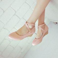 Classy, Elegant, Fabulous, Gorgeous Pink Wedge Heels Closed Toe Crisscross Strap Low Heel Pumps you Low Heel Shoes, Low Heels, Flat Shoes, Wedge Heels, Pumps Heels, Stiletto Heels, Flats, Sandal Wedges, Pink Pumps