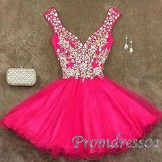 Prom dresses short, rosy junior prom dress with staps, 2016 sparkly handmade party dress for teens www.promdress01.c... #coniefox #2016prom