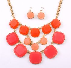 STELLA SQUARE NECKLACE - CORAL #accessories #brighthousebaubles #fashion Coral Accessories, Pretty Outfits, Pretty Clothes, Retail Therapy, Dog Tag Necklace, Peach, Bauble, My Style, Bling Bling