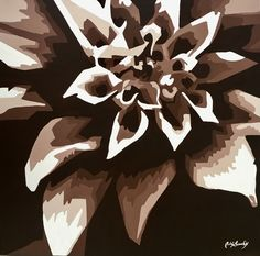 Black & White flower - by Adri Barbieux - Acrylic on canvas