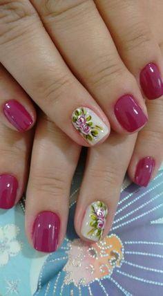 Short Nail Manicure, Short Nails, Gel Nails, Acrylic Nails, Rose Nails, Flower Nails, Nail Polish Designs, Nail Art Designs, Gorgeous Nails