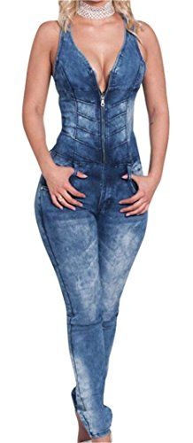 b0016520f7cb Luodemiss Women s Plunging V-Neck Skinny Leg Denim Romper Sexy Club  Cocktail Jeans Jumpsuit in Washed Blue