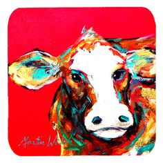 Set of 4 Cow Caught Red Handed Foam Coasters