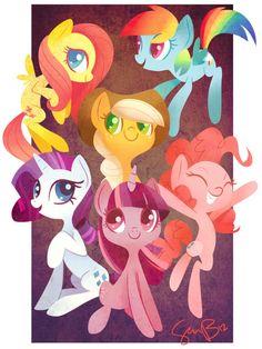 Mane Six by =sambragg on deviantART ||| Fluttershy, Rainbow Dash, Applejack, Rarity, Twilight Sparkle, Pinkie Pie, My Little Pony: Friendship is Magic, unicorn, pegasus