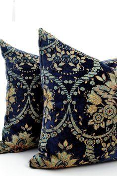 Navy Velvet Pillow CoverPatterned Velvet Pillow by LaletDesign