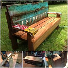 garden benches from repurposed items | Bench with repurposed truck parts