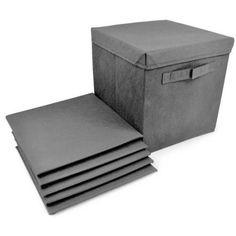 Sorbus Foldable Storage Cube Basket Bin Covers, 6pk, Gray
