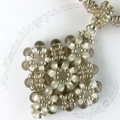 """""""Silvery Snowdrops"""" beaded pendant: Right Angle Weave (RAW) & 2-beads Tubular Twisted Herringbone / Ndebele rope"""