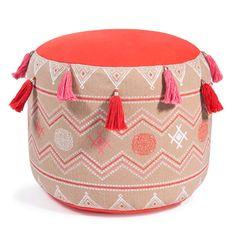Pouf rosso e rosa in cotone con pompon ELIA