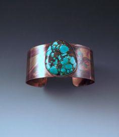 Turquoise Cuff- Tribal- Rustic- Earthy- Boho- Turquoise Copper Cuff Bracelet by RedPaw Copper Cuff, Turquoise Cuff, Earthy, Michigan, Cuff Bracelets, Artists, Rustic, Boho, Unique Jewelry
