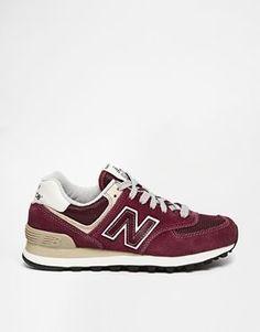 Trendy Women's Sneakers : New Balance 574 Burgundy Suede/Mesh Sneakers - #Women'sshoes