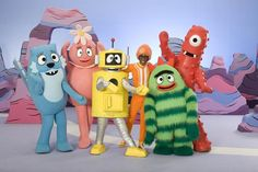 "The cast of ""Yo Gabba Gabba,"" from left: Toodee,"