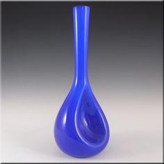 Elme Scandinavian Blue Cased Glass Vase by Gunnar Ander - £30.00