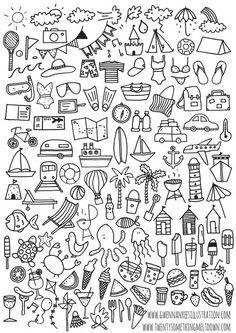 My journal, journal layout, bullet journal art, journal pages, bullet journal inspiration Bullet Journal Printables, Bullet Journal Themes, Bullet Journal Layout, Bullet Journal Inspiration, Bullet Journals, Doodle Drawings, Easy Drawings, Summer Drawings, Cute Little Drawings