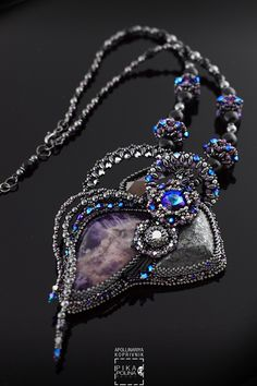 Solid Pendant with amethyst and hematite cabochons, swarovski crystals #swarovski #beadweaving #beadembroidery #beading