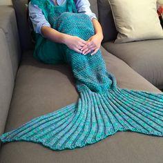 $22.98 Stylish Drawstring Style Knitted Mermaid Design Sleeping Bag Blanket