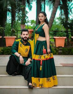 Green And Yellow Printed Navratri Special Couple Collection Garba Dress, Navratri Dress, Choli Dress, Chaniya Choli For Navratri, Choli Designs, Kurta Designs, Blouse Designs, Indian Dresses, Indian Outfits