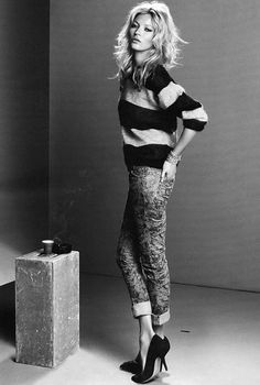 Printed pants and stripes: Kate Moss