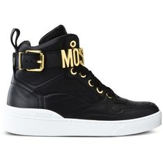 Moschino Sneakers ($500) ❤ liked on Polyvore featuring shoes, sneakers, black, moschino, black trainers, black sneakers, black rubber sole shoes and moschino sneakers