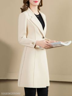 Notch Lapel Plain Trench Coat - berrylook.com Fit And Flare Coat, Blazer Vest, Classic Outfits, Stylish Outfits, Coat Dress, Blazers, Hijab Fashion, Fashion Dresses, Dress Collection